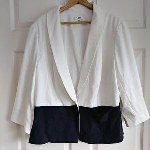 Cato white black button blazer